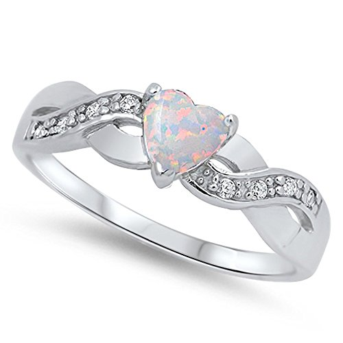 Heart Infinity Knot White Simulated Opal Promise Ring .925 Sterling Silver Size 10 (RNG15958-10)