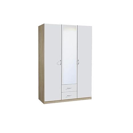 rauch Kleiderschrank Case 3-turig mit Spiegeltur, Eiche Sonoma Nachbildung/weiß