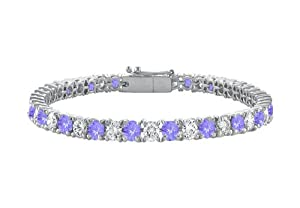 Sterling Silver Round Created Tanzanite and Cubic Zirconia Tennis Bracelet 7.00 CT TGW