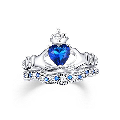 Set Sail White Gold Plated Cubic Zirconia CZ Blue Sapphire Heart Cut Bridal Crown Claddagh Ring Set 8 (Gold Claddagh Rings For Women compare prices)