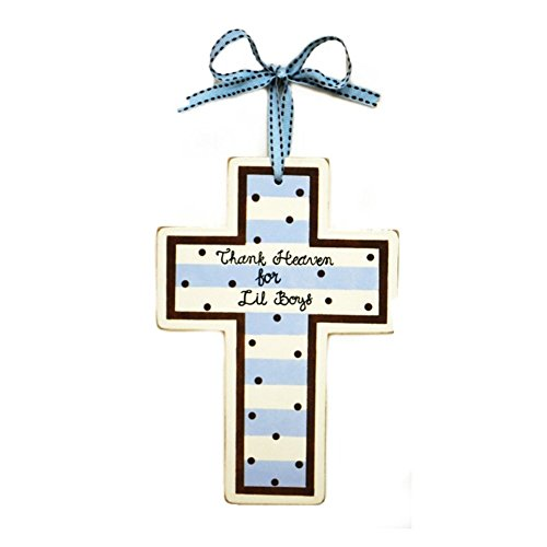 New Arrivals Wooden Cross, Blue/Brown front-779577