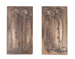 Art Nouveau Charles Mackintosh Bronze Wall Plaque Pair