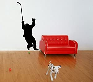 Amazon.com: Hockey Player Sport Game Stylish Wall Vinyl Stickers ...