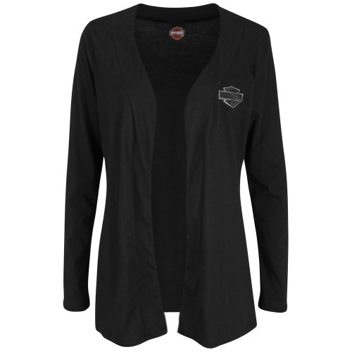 Harley-Davidson Womens Chrome Thing Open Front Cardigan Black Long Sleeve Sweater (Small)