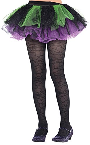 Black Spider Web Kids Tights - Child M/L - 1