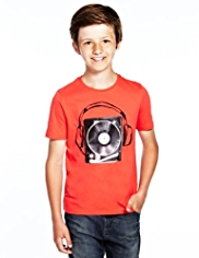 Pure Cotton Record Print T-Shirt