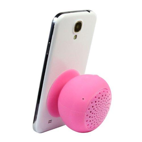 Top Seller Mini Wireless Mushroom Design Bluetooth Speaker Hands Free Silicone Suction Waterproof Speakers (Pink)