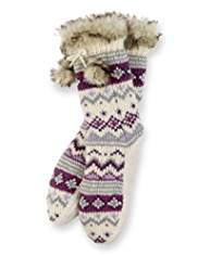 Fair Isle Moccasin Knitted Slipper Socks