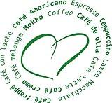 Wandtattoo Wandaufkleber Spruch Kaffeesorten mit Herz Deko für Küche Wanddeko (33x30cm//062 hellgrün)