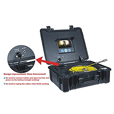 GooQee PIC001 Drain Sewer Vent Pipe Inspection Camera with 1/3-inch Sony CCD Sensor and 7-inch TFT LCD Color