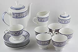 Swagger Microwave safe Bone China Tea Set / Blue & white classy tea set / Floral tea set/ Cups & Saucer