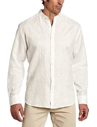 Men 39 s big tall long sleeve banded collar front embroidery for Mens dress shirt monogram location