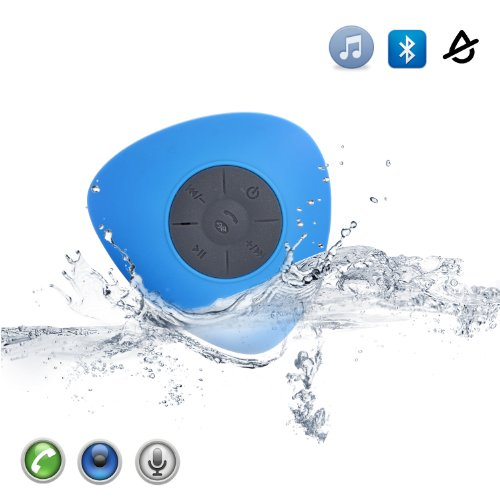 Masione™ Waterproof Bluetooth Wireless Speakers+Handsfree Speakerphone For Calls With Suction Cup For Showers, Bathroom, Pool, Boat, Car, Beach, Outdoor Etc. Capability With All Bluetooth Devices Up To 6 Hours Playtime- Mini Ultra Portable Music Stereo Re front-585495