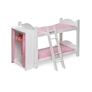 Badger Basket Doll Bunk Beds With Ladder And Storage Armoire - Pink/White