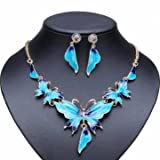 Gold Plated Oil Drop Butterfly Crystal Necklace Earrings Jewelry Set (Blue)