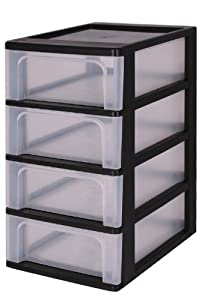Tours de rangement quatre tiroirs tour de rangement noir - Rangement colonne plastique ...