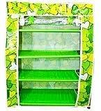 4 Layer Shoe Rack Book & Cloth Shelf Storage Multi Purpose Organ - GREEN