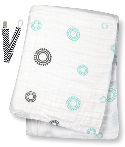 "Lulujo LJ015 Aqua Circles Muslin Cotton Swaddling Blanket 47""x47"" with Pacifier Clip - 1"