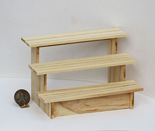 Dollhouse Miniature Garden Shelves in Unfinished Wood