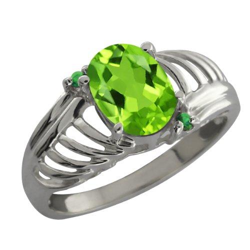 1.19 Ct Oval Green Peridot Green Diamond Sterling Silver Ring
