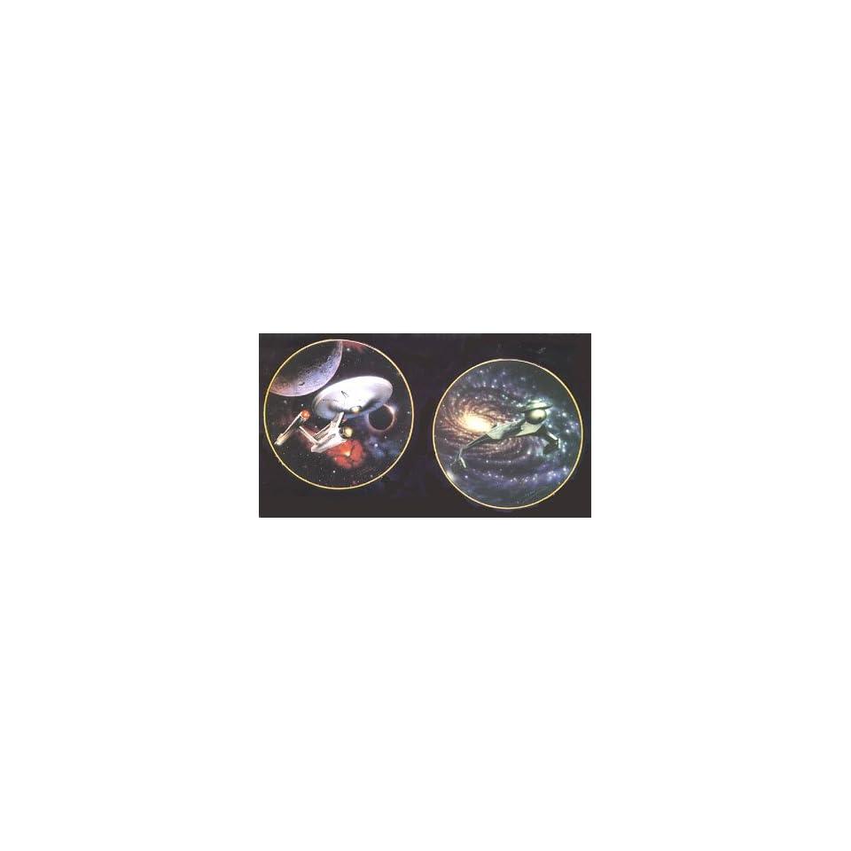 STAR TREK Starships Mini Plate Collection~ U.S.S Enterprise NCC 1701 & Klingon Battlecruiser