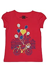 Chalk by Pantaloons Girl's Round Neck T-Shirt (205000005609198, Red, 5-6 Years)