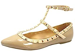 Wild Diva Women\'s Fashion Pippa 35 Studs Pointy T Bar Flats Shoes,Natural Patent,7.5
