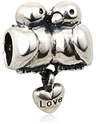 Love Birds Charm 925 Sterling Silver Dangle Bead For European Bracelet Jewelry