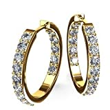 1.50 ct Lady's Round Cut Dual Edge Diamond Hoops Earrings 18 karat Yellow Gold