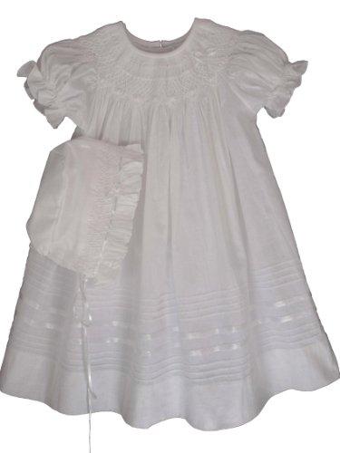 Willbeth Infant Girls White Christening Dress-White-6M