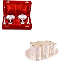 Silver Plated 2 Ice Cream Mug With Spoon And Silver Plated 6 Premium Glass Set With Oval Tray