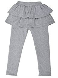 Toddler\'s Winter Tiered Skirt Fleece Lined Leggings Cotton Tights,L.Grey,4