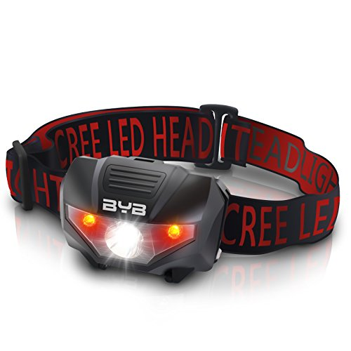 BYB E-0461 LED Camping Headlamp, 4 Modes for Usage, 2 Red Lights Steady for Preserving Your Night Vision, Water Resistant and Shockproof Design for Camping, Hiking, Reading, Fishing and More
