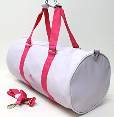 Lacoste Pink White Roll Bag Sports For Gym Weekend Holdall Duffle Bag from LACOSTE