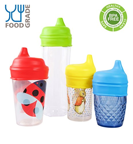 Tiny Angel 4-Pack Silicone Sippy Lids /Tops ~ New & Improved Design ~ For Any Cup (Infant Insert Monsters compare prices)