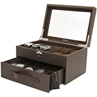 Tech Swiss 20 Watch Box Expresso Brown Leather Large Compartments Glass Window from Tech Swiss