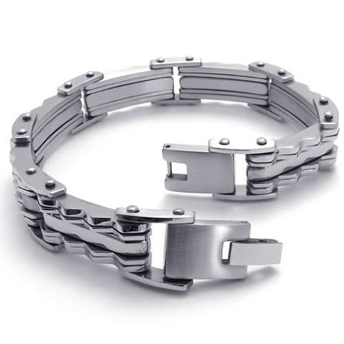 KONOV Jewelry Polished Stainless Steel Mens Link Bracelet Bangle - Silver - 8.6