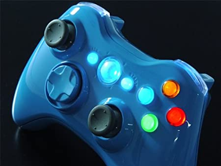 Blue Blood XCM LED Lighted Xbox 360 Wireless Controller Shell (custom mod)