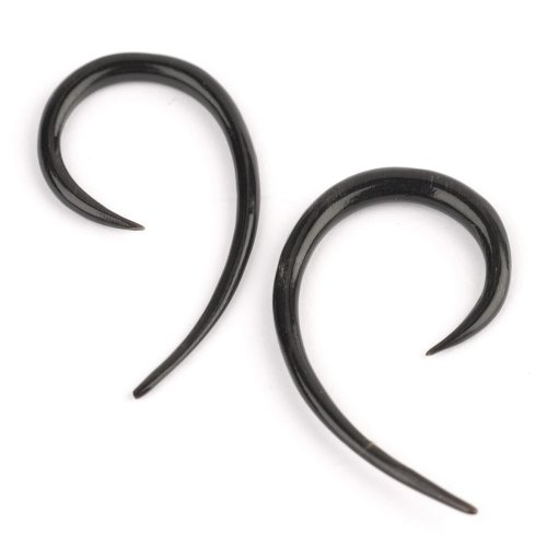 Black natural tribal spiral horn 3 mm 10G stretcher earring pair by 81stgeneration