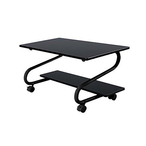 省スペース パソコンデスク プリンター台 キャスター付 ワゴン 仕事机 木製デスク テーブル ブラックB