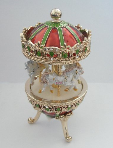 Merry Go Round Carousel MUSIC BOX Austrian Crystals White Dancing Horses Vintage Antique Style Pewter Flowered Gold, Red and Green
