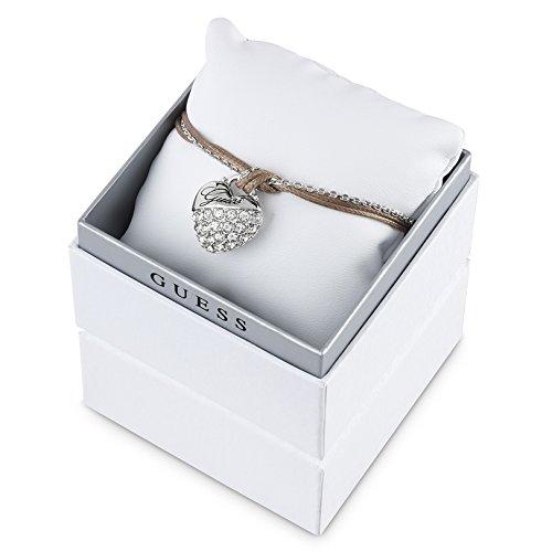 GUESS UBS51402 bracciale da donna in acciaio inox a forma di cuore con zirconi 20 cm