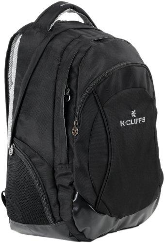 15.4 Inch K-Cliffs Black Organizer Laptop Computer Backpack Schoolbag W/Headphone Port /Air Mesh Padded Panel