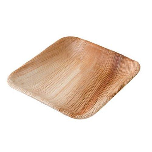 DTW05369 Assiette jetable en feuille de palmier, 25 pièces, carrée, 15x15 cm, compostable