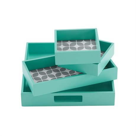 Intelligent Design Lita 4 Piece Decorative Tray Set Teal 98x98x178