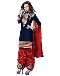 Surat Tex Navy Blue Color Party Wear Embroidered Cotton Un-Stitched Dress Material-H968DL1576