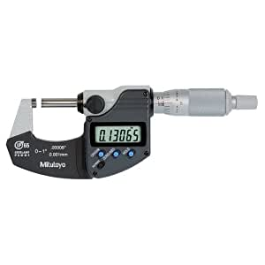 "Mitutoyo 293-340 Digimatic Outside Micrometer, 0-1"" Range, 0.00005""/0.001mm Resolution, IP65, No Output, with Ratchet"