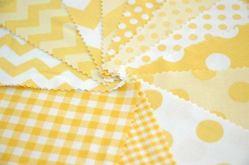 Riley Blake 24 piezas BASIC amarillo diseño de líneas en zigzag Gingham tela de lunares de pincel doble tela para pulsera de cuadrados de estilo moderno para coser juego de - amarillo blanco - 12,5 x 12,5 cm unidades acolchado unidades (12,7 cm x 12,7 cm)