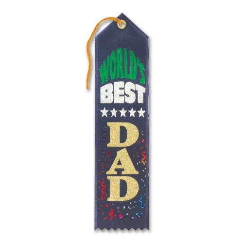 "World's Best Dad Award Ribbon (Navy) 2"" x 8"" Party Accessory"