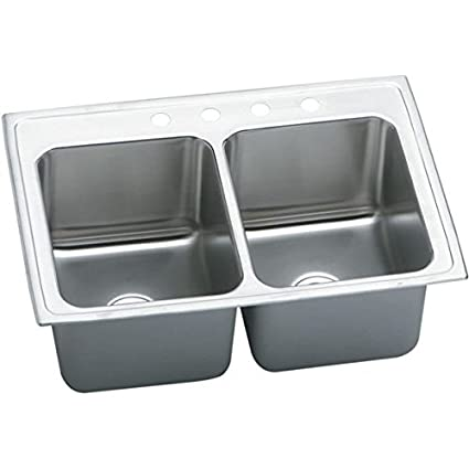 "Elkay DLRQ3322123 18 Gauge Stainless Steel 33"" x 22"" x 12.125"" Double Bowl Top Mount Kitchen Sink with 3 Hole"
